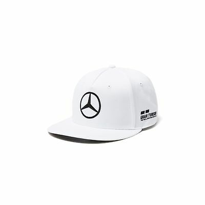 Mercedes AMG F1 Team Mens Lewis Hamilton White Flatbrim Cap Hat ** NEW **