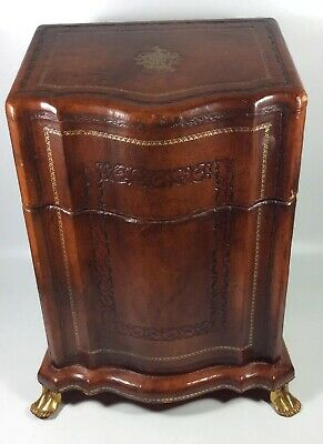 ANTIQUE LARGE ENGLISH GEORGIAN Leather Covered WOOD KNIFE BOX Brass Foot