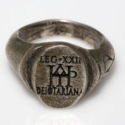 Roman Military Legionary Silver Seal Ring - Monogram Legion Xxii Ca 100-400 Ad