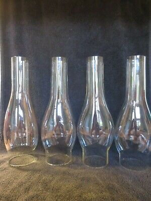 4 Antique Victorian Thin Glass Oval Bulge Duplex Oil Lamp Chimneys Hinks Fit