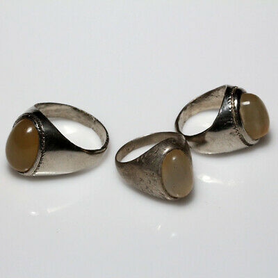Lot Of 3 Late Medieval Silver Plated Greek Rings With Nice Gem Stones