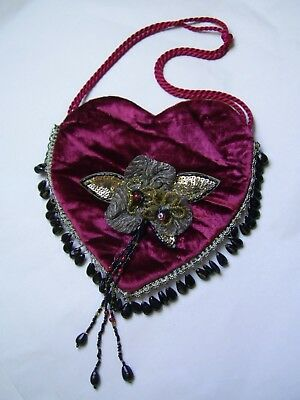 ANTIQUE VICTORIAN STYLE CRAFTED RED VELVET DOLLY BAG w. BEADED APPLIQUEE