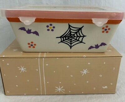 Temptations Holiday Mini Loaf Pan w Gift Boxes Halloween Bat Spiderweb New QVC