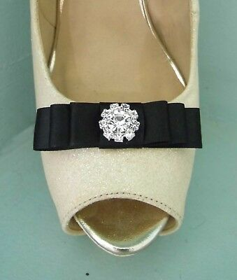 2 Small Black Satin Bow Clips for Shoes with Diamante Centre