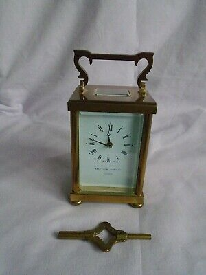 Vintage Matthew Norman Doric Carriage Clock + Key In Good Working Order