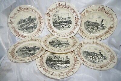 Antique AJ WILKINSON Set of 7 Plates - Burslem England