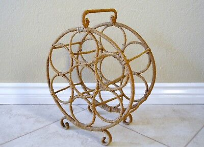 Vintage metal 9 bottle wine holder rack jute covered, rustic french country Farm