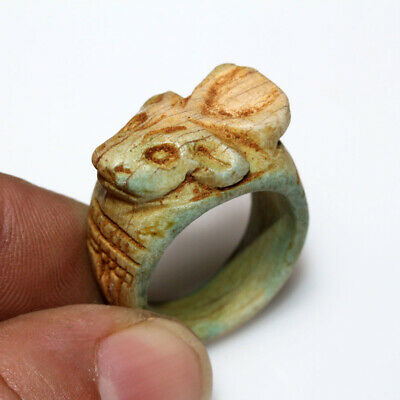 Intact-Egyptian Glaze Ring With Khnum Head On The Top Ca 100 Bc - Ad