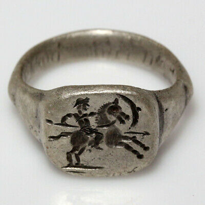 Roman Barbarous Military Silver Seal Ring Circa 200-300 Ad - Wearable