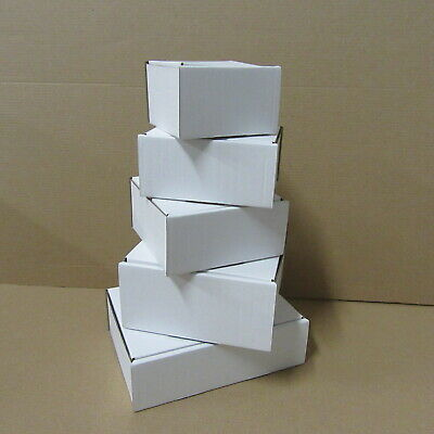 White Die Cut Folding Cardboard Boxes Small Royal Mail Boxes Mixed Sizes X 5
