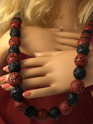 "Vtg Chinese black & red cinnabar carved flower bead 29.5"" necklace JL 100519cCE"