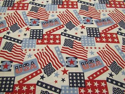 Patriotic 49527 Red White Blue USA Words Flag Quilt Craft Cotton Fabric 1/2 YARD