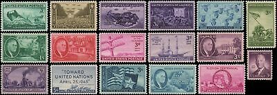US #922-938 MNH 1944-1945 commemorative year set of 17 stamps