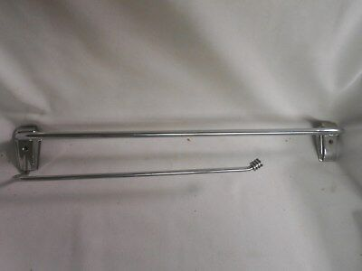 vintage Chrome double bathroom towel bar with one swing arm