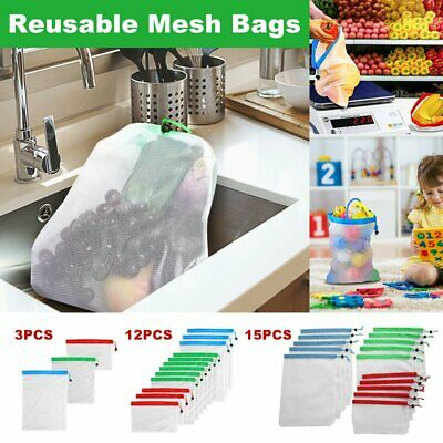 15x Eco Friendly Reusable Mesh Produce Bags Vegetable Fruit Storage Toys Grocery