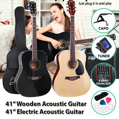 "41"" Acoustic Guitar Classical Electric Acoustic Folk Full Size w/ Bag Capo"