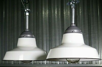 Pair (2) Vtg 50s CROUSE HINDS EXPLOSION PROOF industrial porcelain white lights