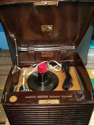 Vintage Rca Victor Model 45-Ey-3 Bakelite 45 Rpm Record Player Works With Handle