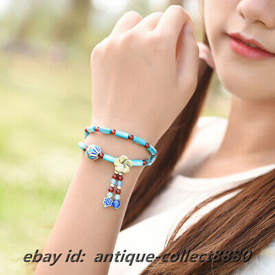 Chinese Shell Beads/Red Agate/Cloisonne Enamel Fashion Women Hand Chain Bracelet