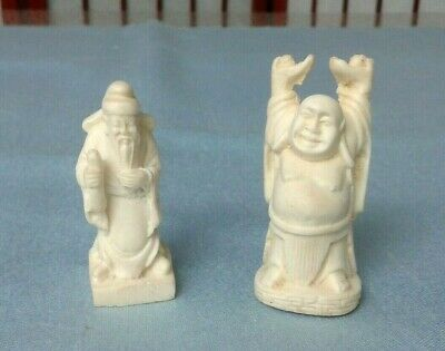 Cow Bone Oriental Happy Buddha & Wise Man Figurines Set Of 2 Signed 2.25""