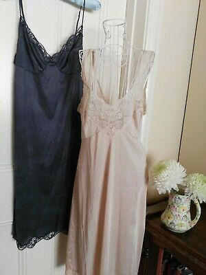 Two Retro Petticoats/Slips Navy Blue & Beige Both With Lace Trims