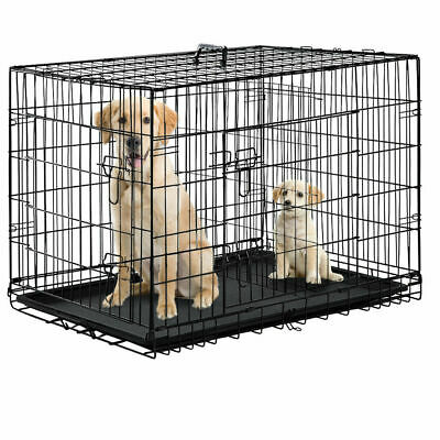 """Black 48"""" 2 Door Pet Cage Folding Dog w/Divider Cat Crate Cage Kennel w/Tray DC"""