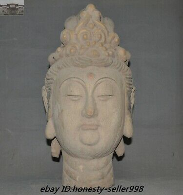 """18"""" Antique Temple Old Wood Carved Guanyin Kwan-yin Goddess buddha head Statue"""