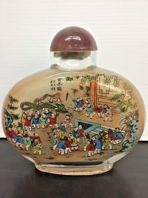 Antique Large Chinese Reverse Glass Painted Snuff Bottle W/ Agate Lid