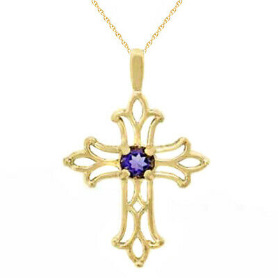 """Christmas Special Amethyst Cross Pendant in 10K Yellow Gold 18"""" Chain"""
