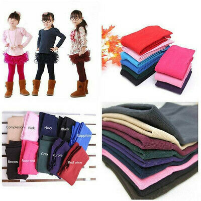 Fashion Kids Girls SOFT Fleece Leggings Stretchy Skinny Trousers Pants 2-7YEARS
