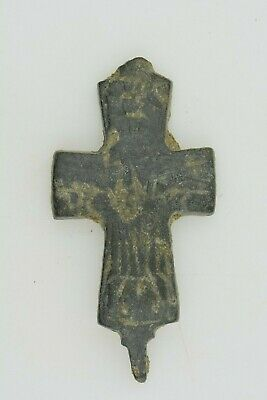 Byzantine bronze reliquary cross encolpion Jesus Chris crucified 6th century AD.