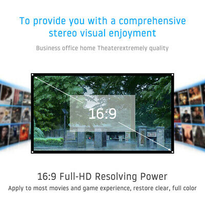 Portable Projector Screen 72 in Home Outdoor Camping 3D HD 16:9 Cinema Theater