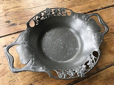Antique Liberty & Co Arts and Crafts Tudric Pewter Bowl Dish Shamrock Rex Silver