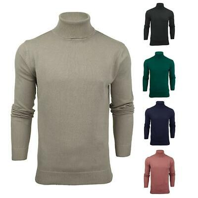 Mens Boys Roll Polo Jumper High Neck Soft Plain Ribbed Fitted Knitwear Top