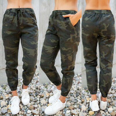 Womens Camo Cargo Joggers Trousers Ladies Bottoms Jogging Gym Pants Tracksuit
