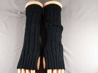 Black cable ribbed knit long arm warmers fingerless gloves texting open thumb