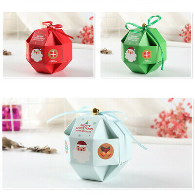 10Pcs Christmas Paper Candy Box Carrier Gift Homemade Biscuits Packaging Bag Eye