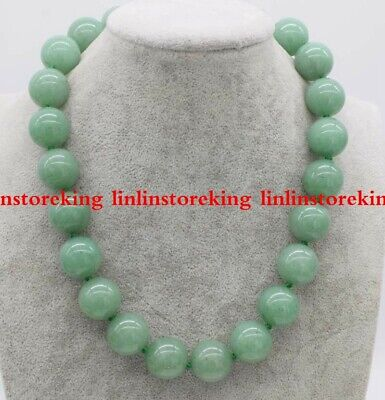 Natural 18mm Huge Green Jade Round Beads Gemstone Jewellery Necklace 18''