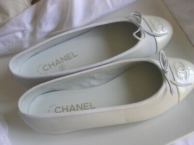 Authentic Chanel White Ballet Flat Size 38