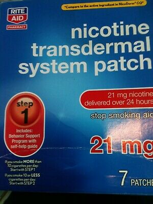 Rite Aid Nicotine Transdermal System Patch 21 mg 7 patches Step 1 exp. 2020