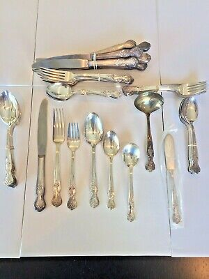 Wm Rogers Mfg Magnolia Inspiration Extra Silver Plate Flatware 51 Pieces
