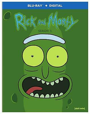 NEW!!! Rick and Morty Season Three (Blu-ray/Digital Set, 2018) With Slipcover