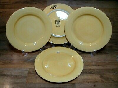 "4 Tabletops Gallery Avellino -  Butter - 11 1/2"" Hand Painted Dinner Plates"