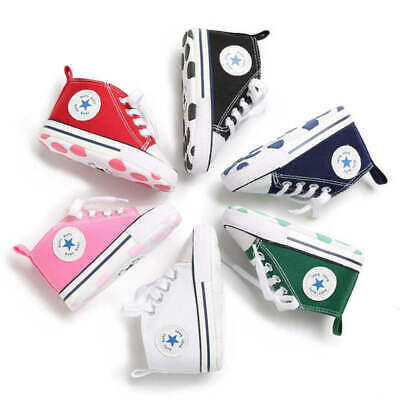 Baby Shoes Boy Girl Star Solid Sneaker Cotton Soft Casual Canvas Crib Shoes