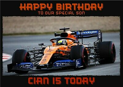 personalised birthday card Lando Norris F1 sports car any name/age/relation