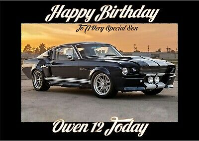 personalised birthday card Ford Shelby Mustang sports car any name/age/relation/