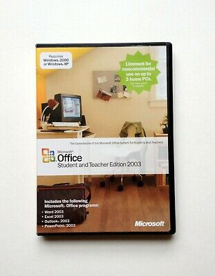 Microsoft Office Student and Teacher 2003 - 3 PC's Install