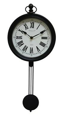 Black Shabby Chic PENDULUM WALL CLOCK French Antique Vintage - Ideal as Gift