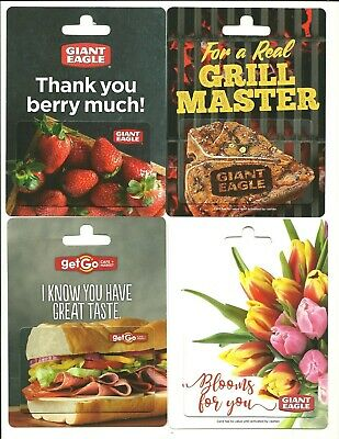 Lot of (4) Giant Eagle Getgo Gift Cards No $ Value Collectible Steak Strawberry