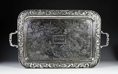 Large Antique Chinese Export Silver Tray with Scene of Figures Kwong Man Shing